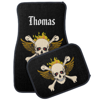 Personalised Skull and Wings with Crossbones Fire Car Mat