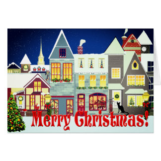 Personalised Small Town Street Scene Christmas Card