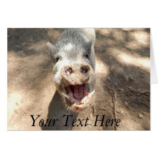 Personalised Smiling Mini Pig Card