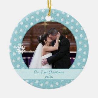 Personalised Snowflakes First Christmas Photo Round Ceramic Decoration