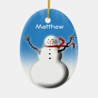 Personalised Snowman Christmas Tree Decoration Ceramic Oval Decoration