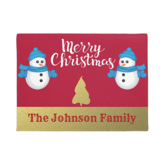 Personalised Snowman Merry Christmas Welcome Doormat