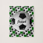 Personalised Soccer Ball on Football Pattern Jigsaw Puzzle