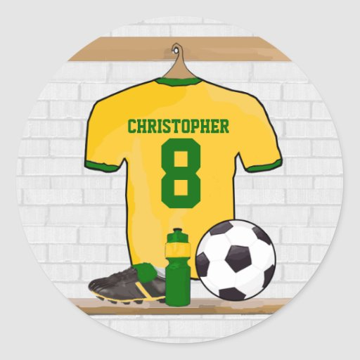 Personalised soccer jersey yellow green sticker