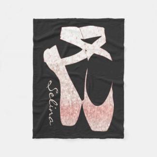 Personalised Soft Gradient Pink Ballet Shoes Fleece Blanket
