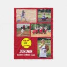 Personalised Softball 5 Photo Collage Name Team # Fleece Blanket