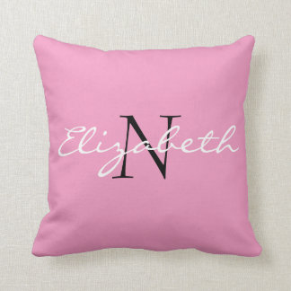 Personalised Solid Pink.Cartoon Cupcake Collection Throw Pillow