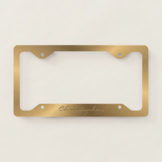Personalised Stainless Steel Gold Metallic Radial Licence Plate Frame