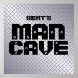 Personalised Steel Diamond Plate Man Cave Poster