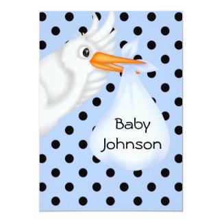 Personalised Stork Baby Boy Shower Invitation