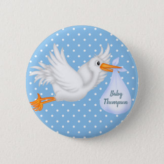 Personalised Stork Button for Boys