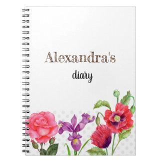 Personalised Summer Flowers Diary Notebook