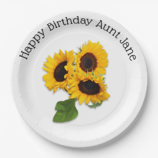 Personalised Sunflower Birthday Party Paper Plates
