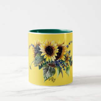 Personalised Sunflower Bouquet on Yellow Two-Tone Coffee Mug