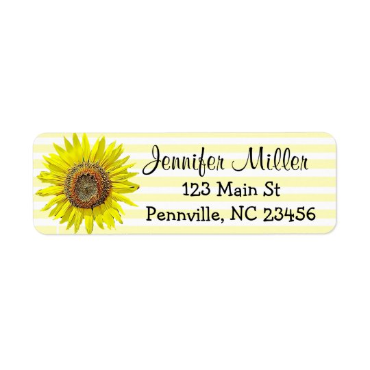 Personalised Sunflower Return Address Labels
