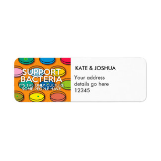 Personalised SUPPORT BACTERIA Return Address Label