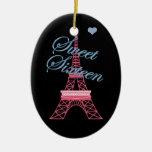 Personalised Sweet 16  Paris Eiffel Tower Ornament