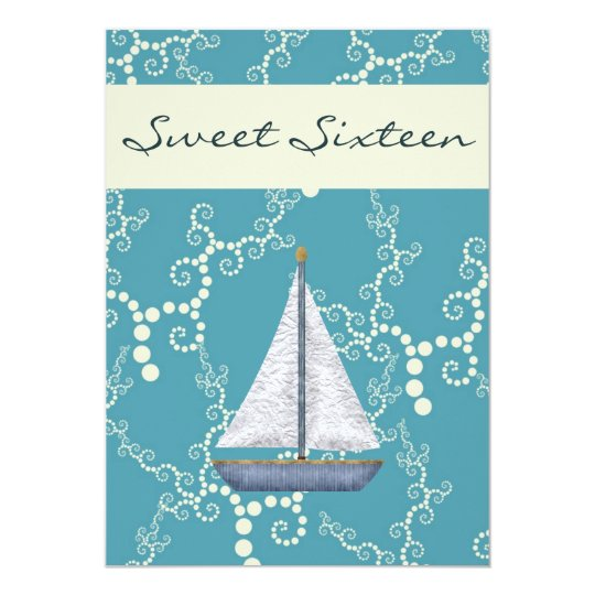 Personalised Sweet 16 Sailboat Birthday Invite
