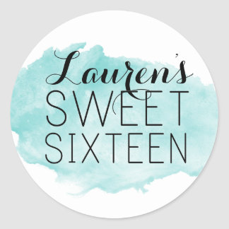 Personalised Sweet 16 Watercolor Favour Stickers
