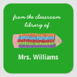 Personalised teacher gift bookplates square sticker