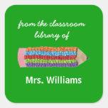 Personalised teacher gift bookplates square sticker