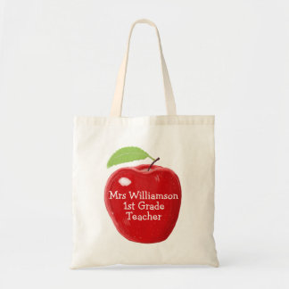 Personalised Teacher's Apple Painting Tote Bag