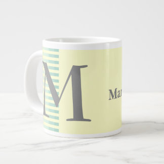 Personalised Teal Stripes & Light Yellow Monogram Large Coffee Mug