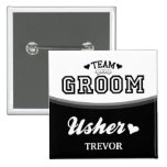 Personalised Team Groom Usher Button