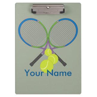 Personalised Tennis Crossed Rackets Clipboard