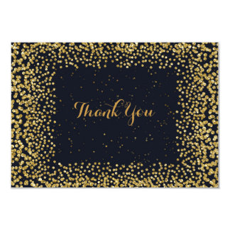Personalised Thank You Cart Black Gold Confetti 9 Cm X 13 Cm Invitation Card