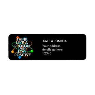Personalised THINK LIKE A PROTON Return Address Label