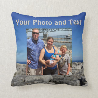 Personalised Throw Pillows, Your Photo and Text Throw Pillow