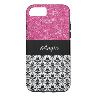 Personalised Trend Pink Glitter & Damask Bling iPhone 7 Case