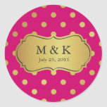 Personalised Trendy Pink Gold Polka Dots Round Sticker