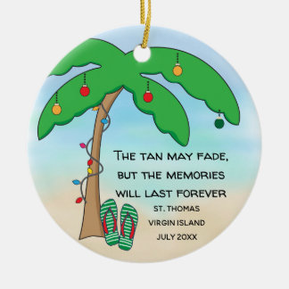 Personalised Tropical Beach Christmas Ceramic Ornament