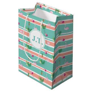Personalised Tropical Flamingo Giftbag Medium Gift Bag