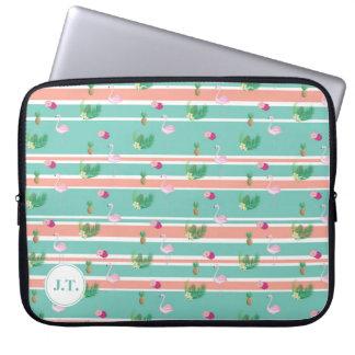 Personalised Tropical Flamingo Laptop Case