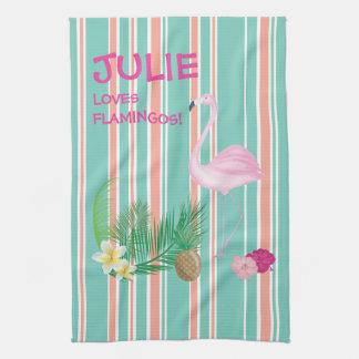 Personalised Tropical Flamingo Tea Towel