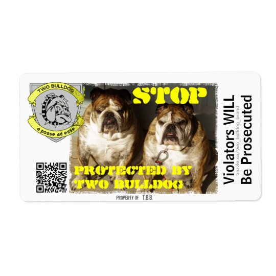Personalised Two Bulldog Brand STOP Stickers Shipping Label