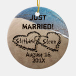 Personalised Two Hearts In The Sand Ornament