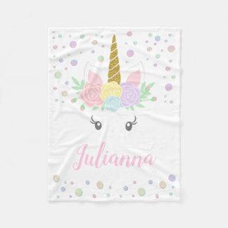 Personalised Unicorn Baby Blanket