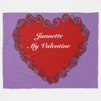 Personalised Valentine Heart Fleece Blanket