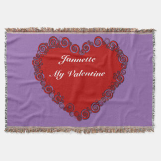 Personalised Valentine Heart Throw Blanket