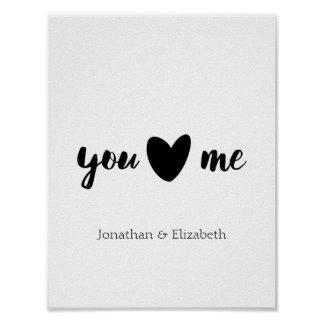 Personalised Valentine Quote, You Heart Me Poster