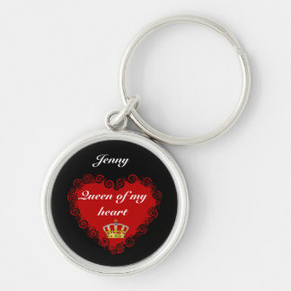 Personalised Valentines Queen Of My Heart Silver-Colored Round Key Ring