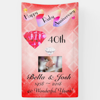 Personalised Vertical 40th Wedding Anniversary Banner