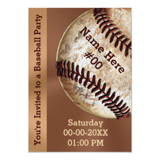Personalised Vintage Baseball Party Invitations