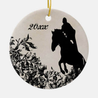 Personalised Vintage Equestrian Horse Jumping Ceramic Ornament