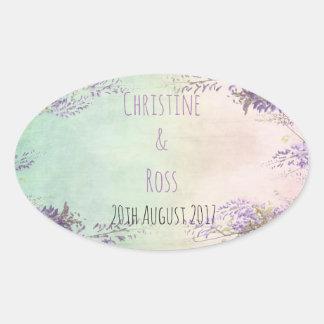 Personalised vintage floral wedding sticker