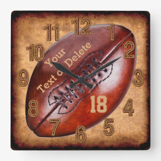 Personalised Vintage Football Decor NAME, NUMBER Wall Clocks